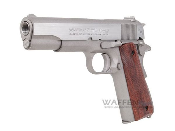 Colt Swiss Arms SA1911 Blow Back CO2 Pistole Stainless Kaliber 4,5mm BB