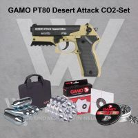 Gamo PT80 Desert Attack CO2 Pistole 4,5 mm Diabolo - SET