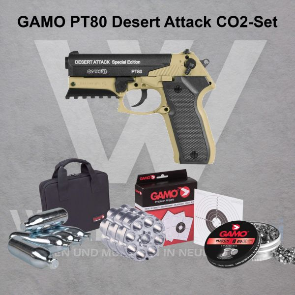 Gamo PT-80 Desert Attack CO2 Pistolen SET